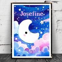 """Mond Poster Aquarell, """"Möndchen"""" Print, Bild, Sternenhimmel, Kinderzimmer, personalisierbar Bild 1"""