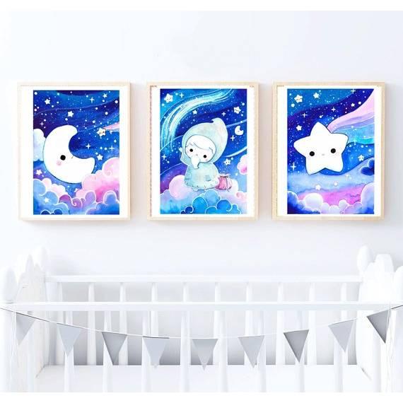 Gute Nacht Poster Aquarell, Bild, Druck, Print, Mond, Stern, Sandmännchen, Sandmann, Sternenhimmel im Set Bild 1