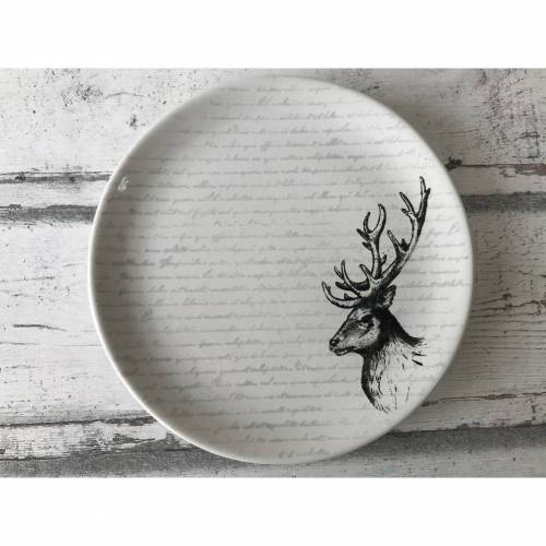 Teller 20cm Ø, Hirsch, Keramik handbemalt