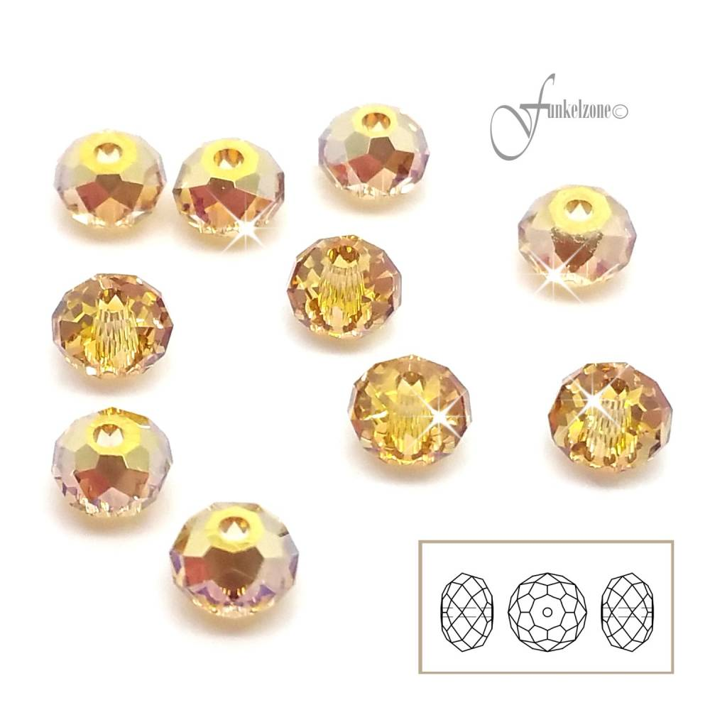 10 pcs | 5040 | SWAROVSKI ELEMENTS | Briolette Bead | 4mm | crystal metallic sunshine Bild 1