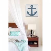ANKER - Liebe Schifffahrt - Wandbild in Holz gefräst - Farbkombination blau / weiß Bild 1