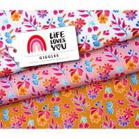 Life loves you - Giggles French Terry Hamburger Liebe Albstoffe Bio GOTS Bild 1