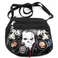 Kleine schwarze Goth Handtasche, schwarze Umhängetasche Bild 1