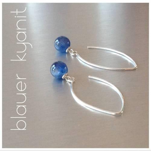lange Silber-Ohrringe mit blauem Kyanit / Disten • schlicht gehalten an oval geschwungenen Ohrhängern 925 Silber
