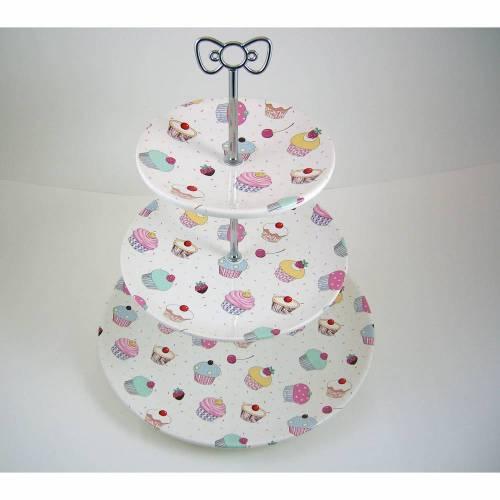 Etagere, 3 stöckig, Keramik handbemalt & bedruckt mit Cupcakes