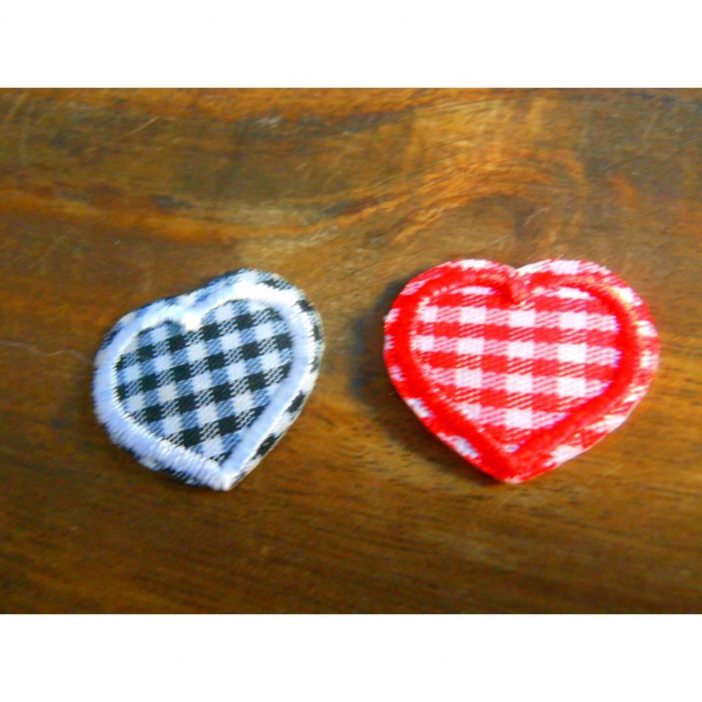 Mini Herz kariert  Patch, zum Aufbügeln,  Bild 1