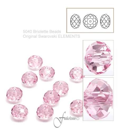 10 pcs | 5040 | SWAROVSKI ELEMENTS | Briolette Bead | 4mm | light rose | LROS