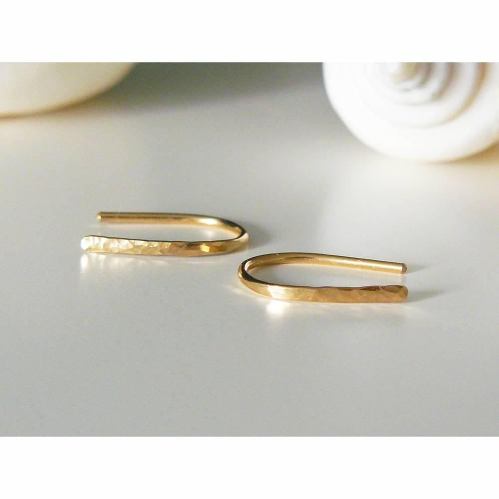 Kleine gehämmerte Ohrringe Gold filled 15 mm, Creolen offen, schlichte Ohrringe, Creolen gehämmert, minimalistische Ohrringe, Bogen Ohrringe golden Bild 1