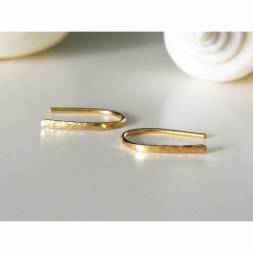 Kleine gehämmerte Ohrringe Gold filled 15 mm, Creolen offen, schlichte Ohrringe, Creolen gehämmert, minimalistische Ohrringe, Bogen Ohrringe golden