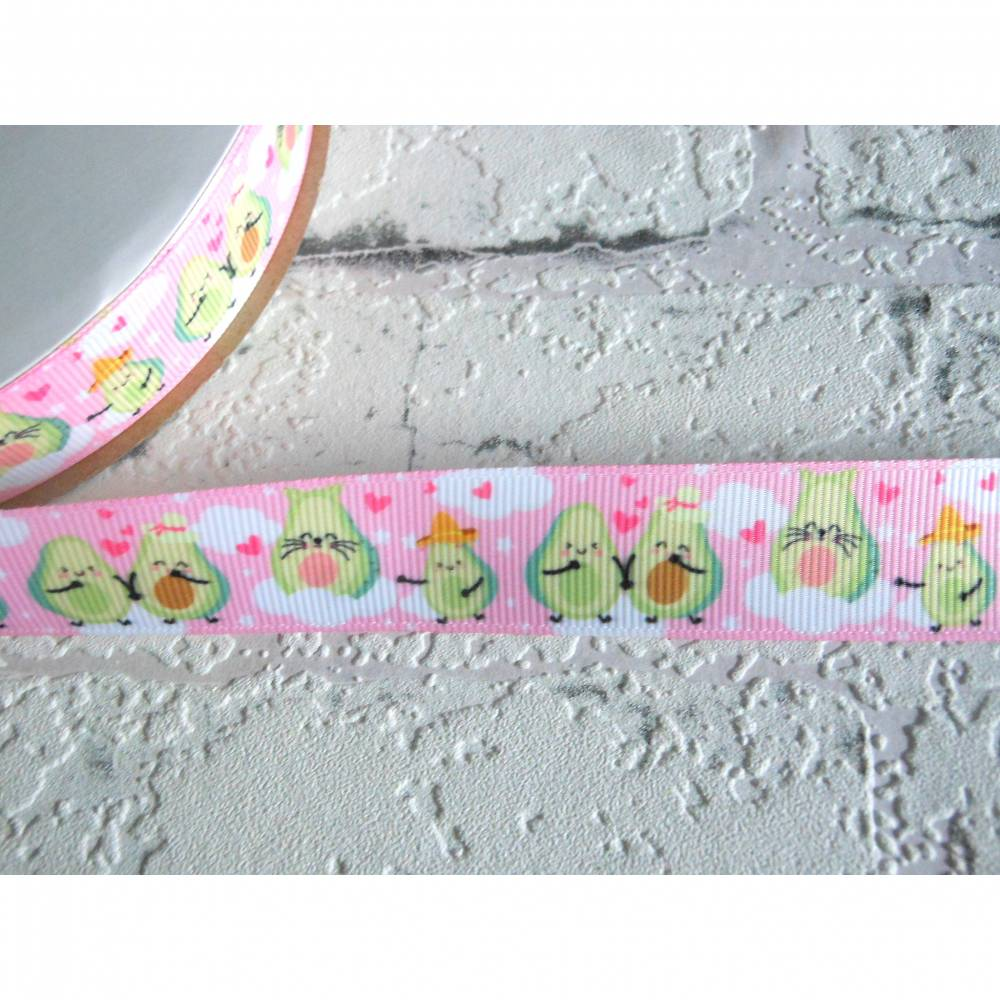 Avocado, Kitty, kawaii, verspielt   22 mm  Borte Ripsband Bild 1