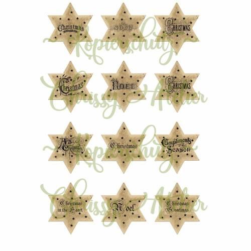 12 Papier -  Aufkleber / Etiketten ~Sterne ~l~ A4  Motivbogen ~  Weihnachten ~ No.54a
