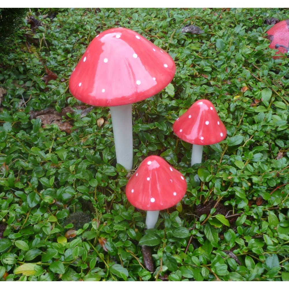Fliegenpilze für Garten oder Wintergarten 3er Set, Handarbeit Bild 1