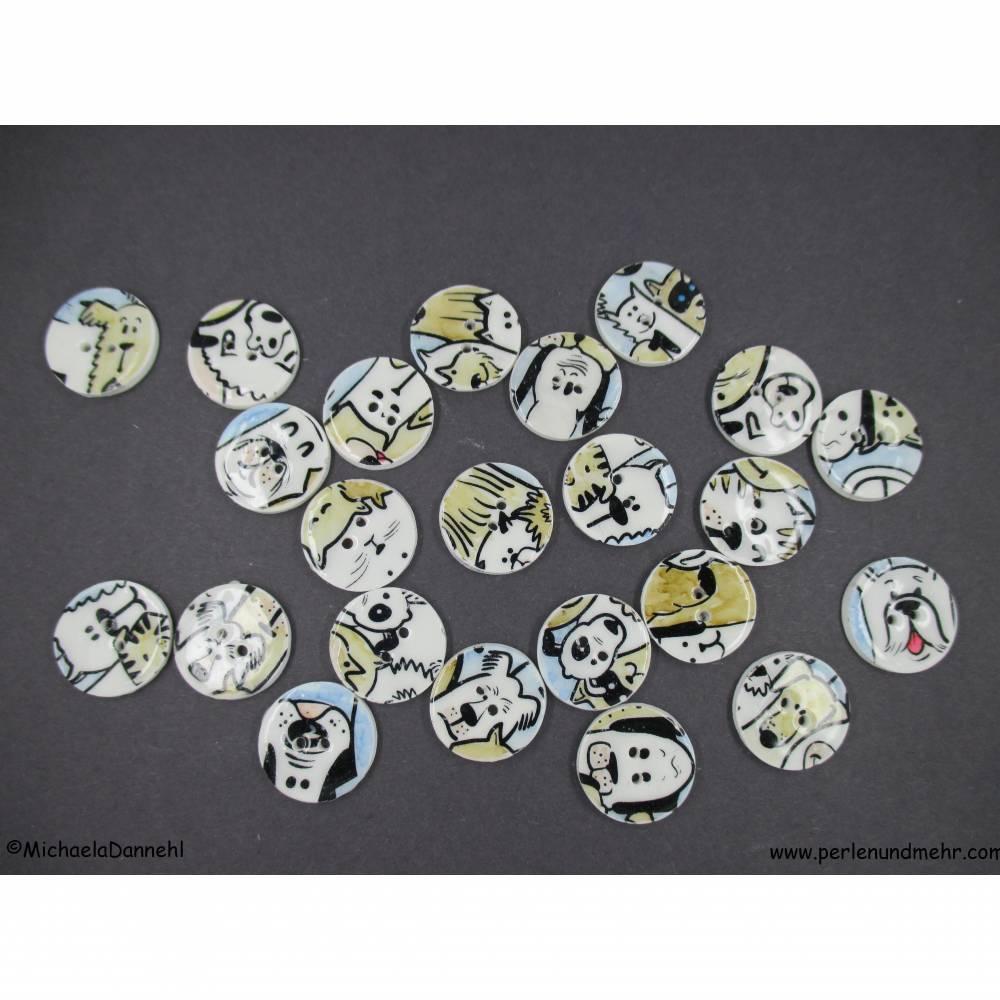 23 handgearbeitete  Hunde Knöpfe   1,6 cm   Set ART 1819 Bild 1