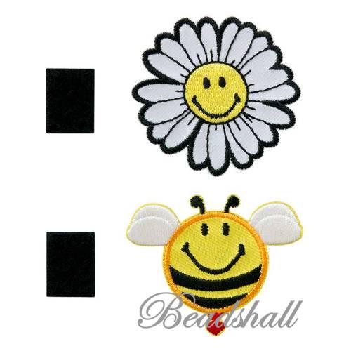 2 Bügelbilder original SMILEY®World Biene und Blume Wechselpatch mit Klettband