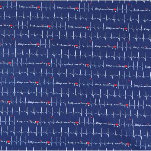 Baumwolle EKG, Webware Baumwolle Toni Swafing Herzlinie blau, Stoffe Meterware