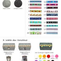 Handmade Portemonnaie Filz + Karo rot/hellgrün aus Merino Wollfilz Webband / Filzfarbe / Verschlussart auswählbar Bild 3