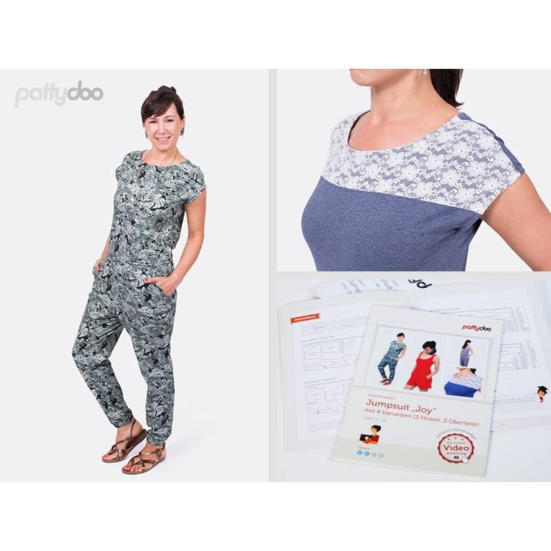 Schnittmuster Papierschnittmuster Joy Jumpsuit mit 4 Varianten by pattydoo Gr 32- 48(1 Stück/9,- €) Bild 1