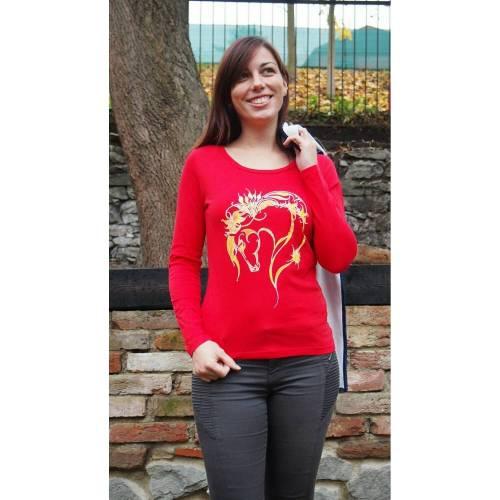 Langärmliges Bio-Shirt für Pferdeliebhaber - Pferd Rainbow - TOP QUALITÄT!