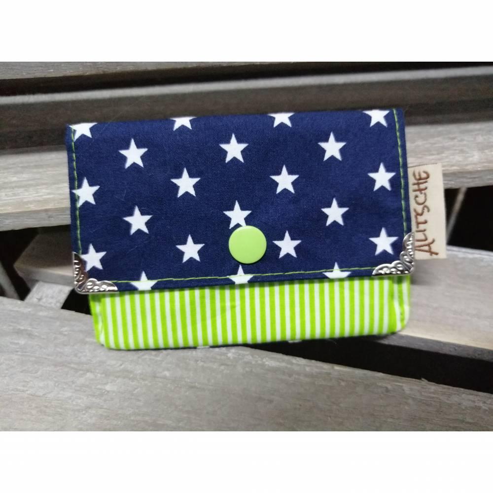 Kleine Geldbörse Blau/ Grün Sterne /gestreift Bild 1