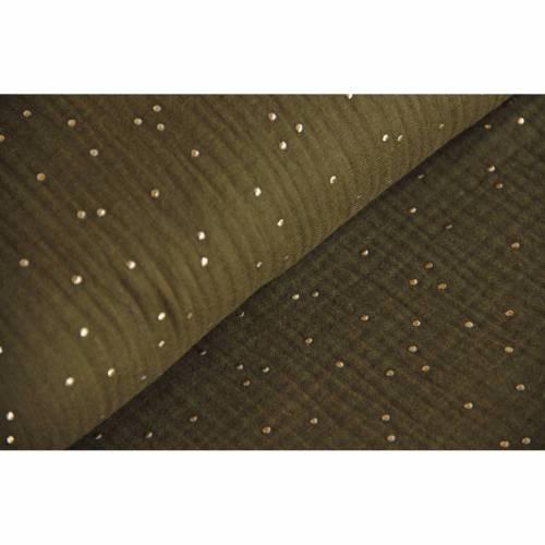 Musselin khaki mit gold, Double Gauze Windelstoff, oliv mit goldenen Punkten, Stoff Meterware