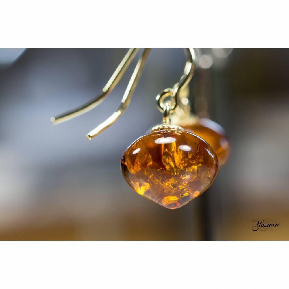 Bernstein natur an 585er Gelbgold Bild 1