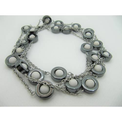 Kette Armband und Ohrringe Hämatit / Weiß  (505)