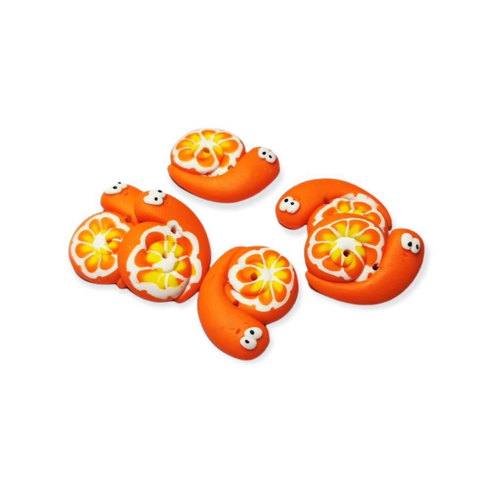 Knopf im Schneckendesign orange Bild 1