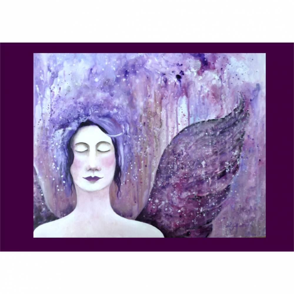 Acrylbild Schutzengel rosa lila Original Gemälde auf Malplatte Wandbild  Bild 1