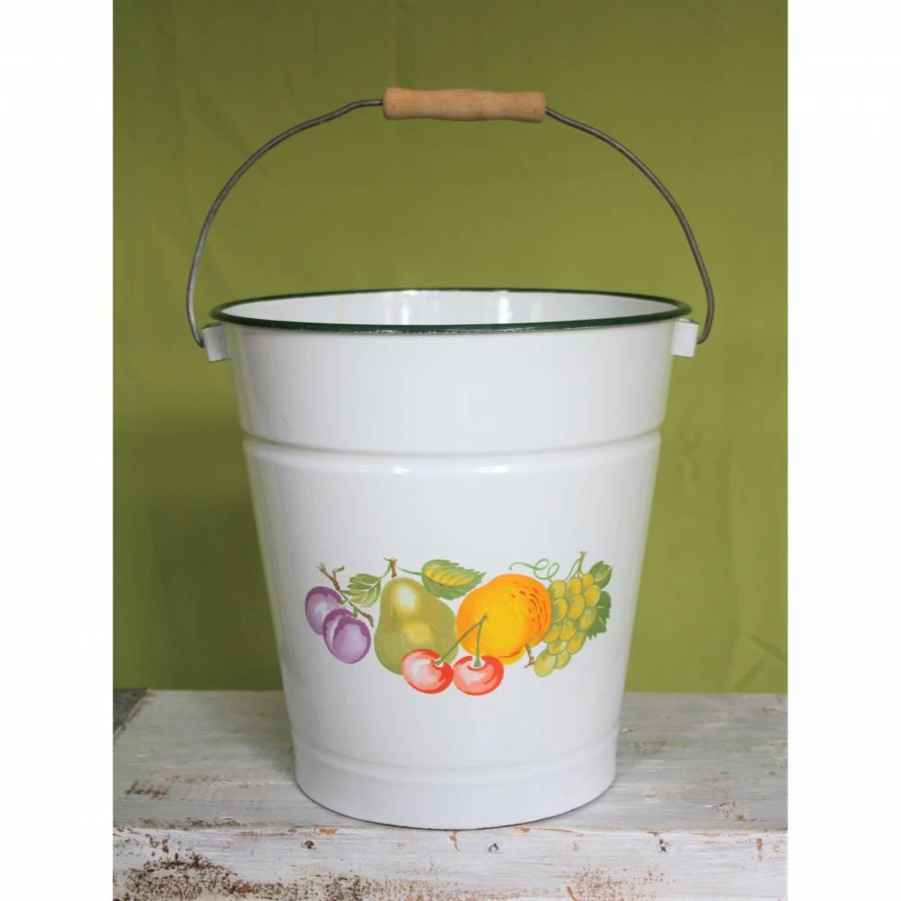 alter Emaille Eimer Spritzguß  Früchte Bild 1