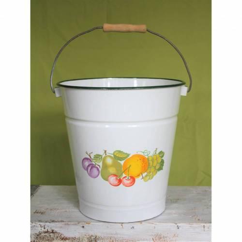 alter Emaille Eimer Spritzguß  Früchte