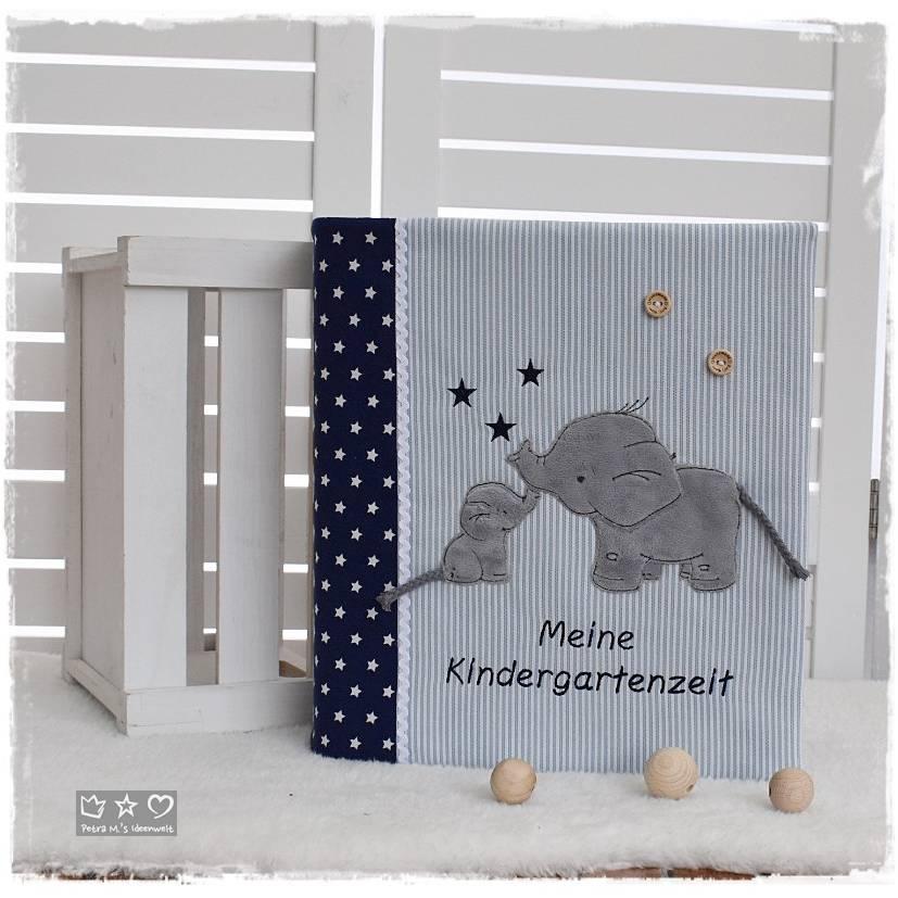 Ordner-Portfolio mit Doodlestickerei 'Elefanten', Stickerei 'Meine Kindergartenzeit' und Wunschname Bild 1