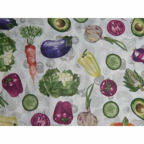 9,80 EUR/m Baumwollstoff Gemüse auf weiß, Baumwolle