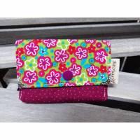 Kleine Geldbörse Pink / Beere mit Blumen Bild 1