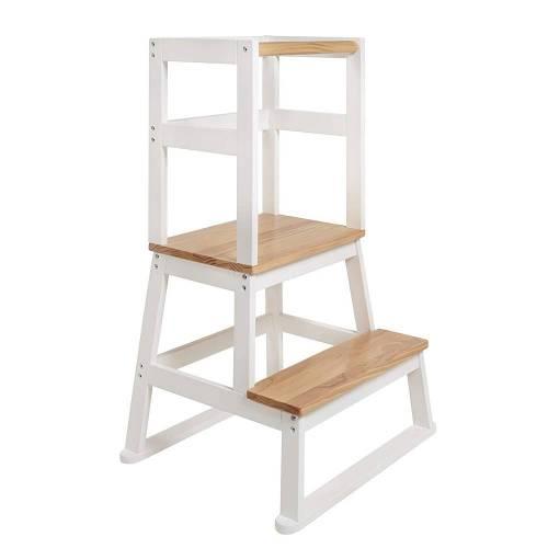 BOMI® Vario Lernturm Kinder Schemel Swubi Weiss und Holz I Lerntower für Kinder ab dem Stehalter | Tower Küche Kindermöbel Learning Tower