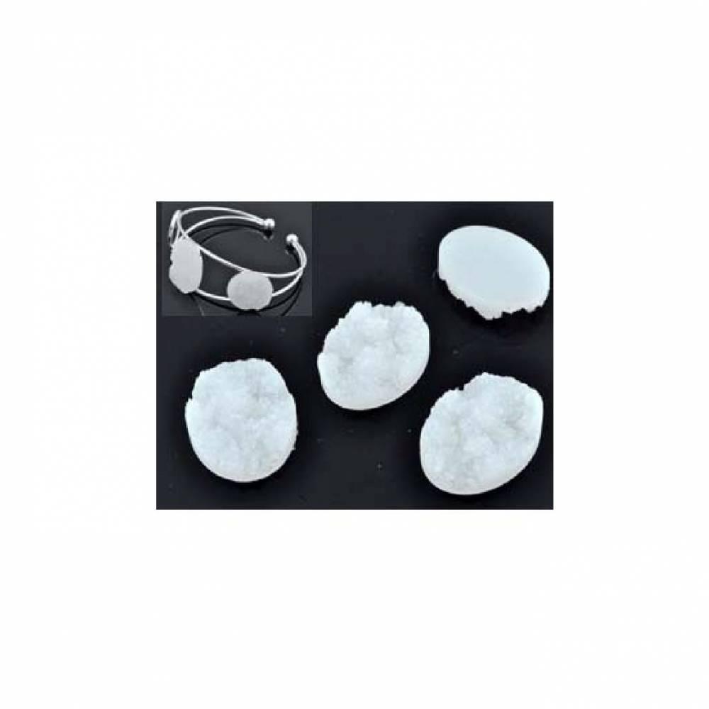 20 Stücke Kunststoff Klebsteinen oval  25x18mm,  4mm dick farbe Bild 1