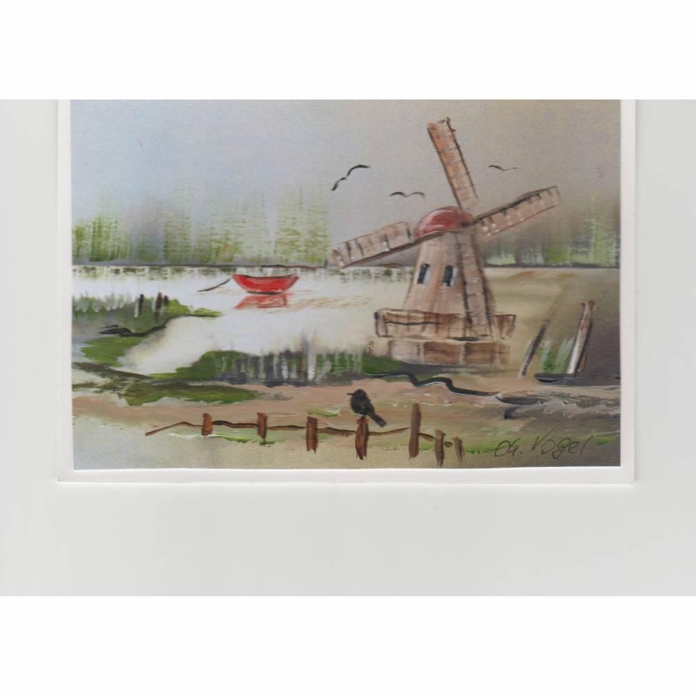 Grußkarte-  die Mühle am See-   handgemalt Bild 1