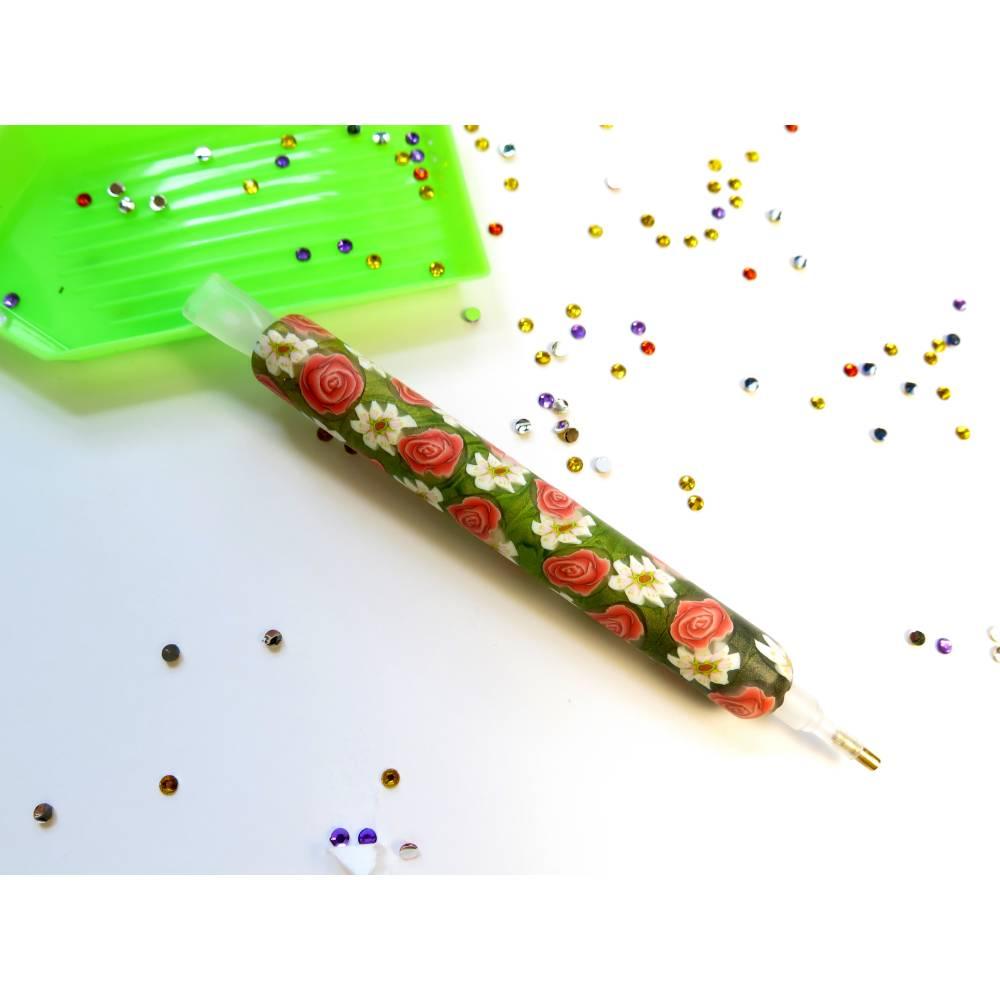Diamond painting pen mit Blümchen in Coral  und Weiß Bild 1