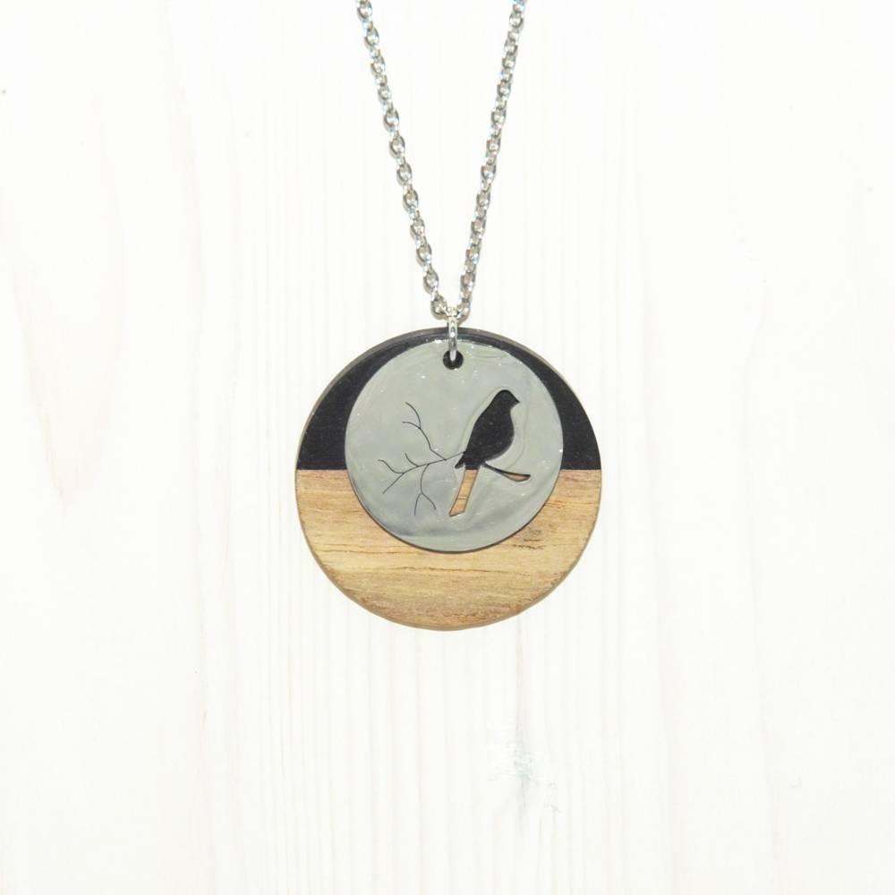 Halskette mit Metall- und Holzanhänger, 50cm Bild 1