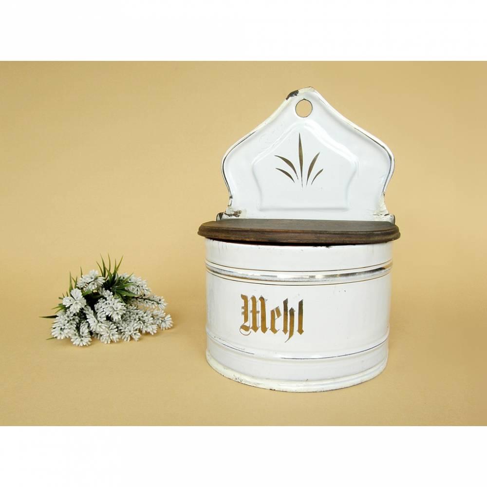 Alter Behälter Mehl Emaille Wandbehälter Klappdose Vorratsdose Vorratsbehälter weiß Shabby Vintage Bild 1