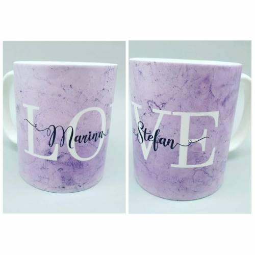 Personalisierte Tasse LOVE -  mit Namen des Brautpaares / Liebespaares / Kinder