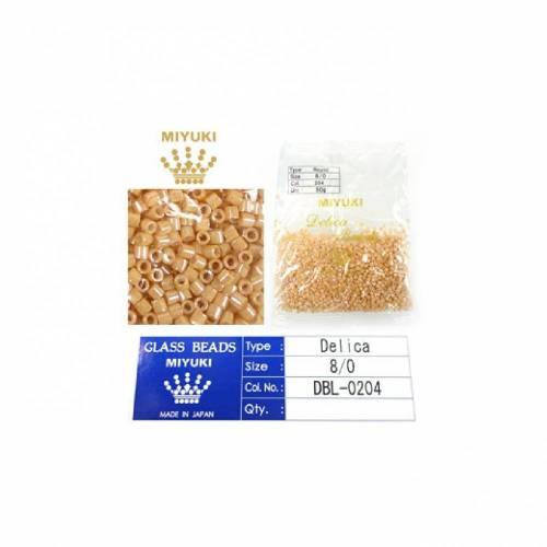 50 Gramm Miyuki Delica Beads Glas rocailles 8/0 3x2,7mm DBL-0204 (1500 St.) beige
