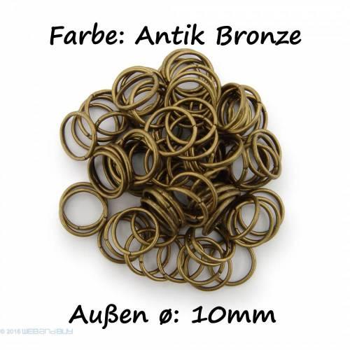 Binderinge / jump Rings 10 mm Durchmesser Farbe Antik Bronze 15g ca.80 Stk