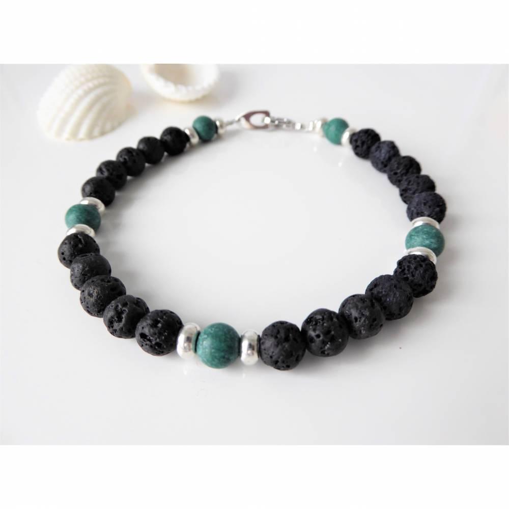 Herren-Armband aus Lavaperlen und Natursteinperlen, Schmuck, Männer, schwarz Bild 1