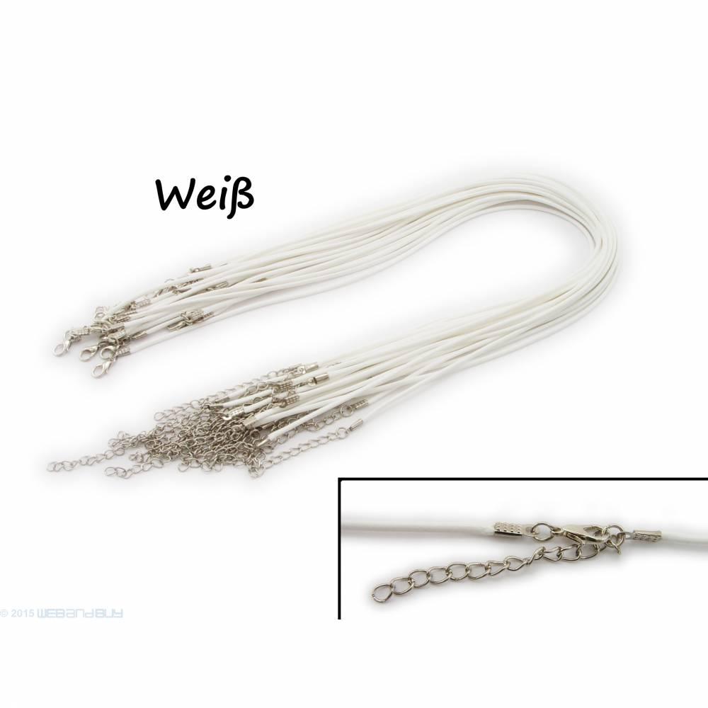 2 x Halsband aus Wax Cord Farbe: Weiß mit Karabinerverschluss Bild 1