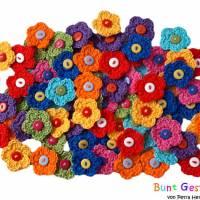 Häkelblümchen - 8 Stück, Häkelapplikation, Aufnäher, Applikation, Blümchen, Streublümchen, Häkelbild  Bild 1