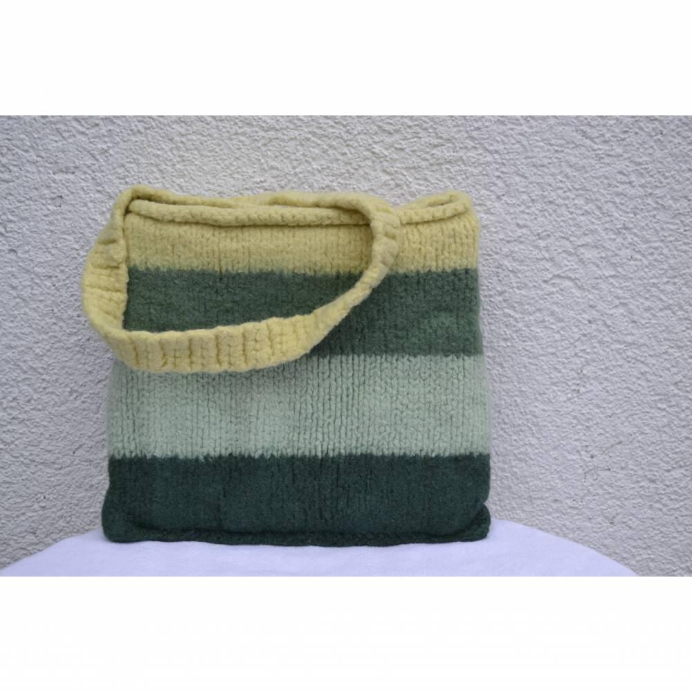 Tasche Beutel Einkaufstasche Henkeltasche Beuteltasche Stricktasche gelb grün gestrickt gefilzt  Bild 1