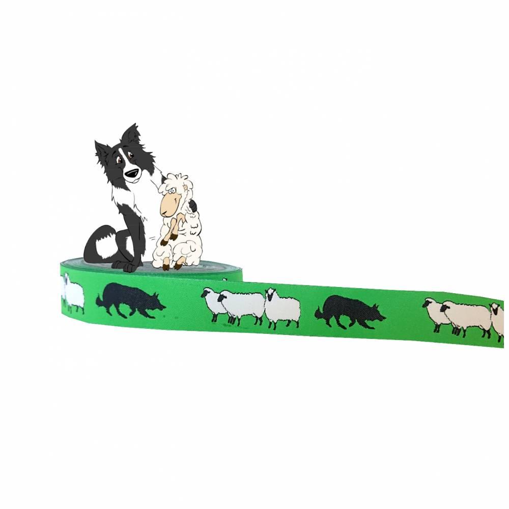 Hütehund und Schafe Webband Hund, Borte, grün, 20mm, Border Collie, Australian Shepherd, Aussie, 1 Meter Bild 1
