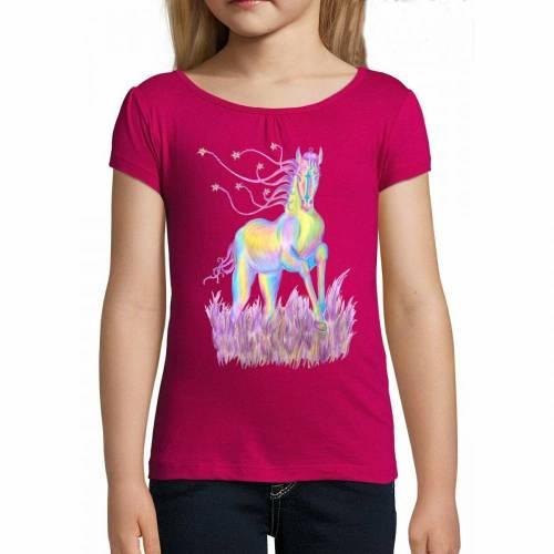 Niedliches T-Shirt mit Pferde-Print Rose - Größen 96-128 TOP QUALITÄT!