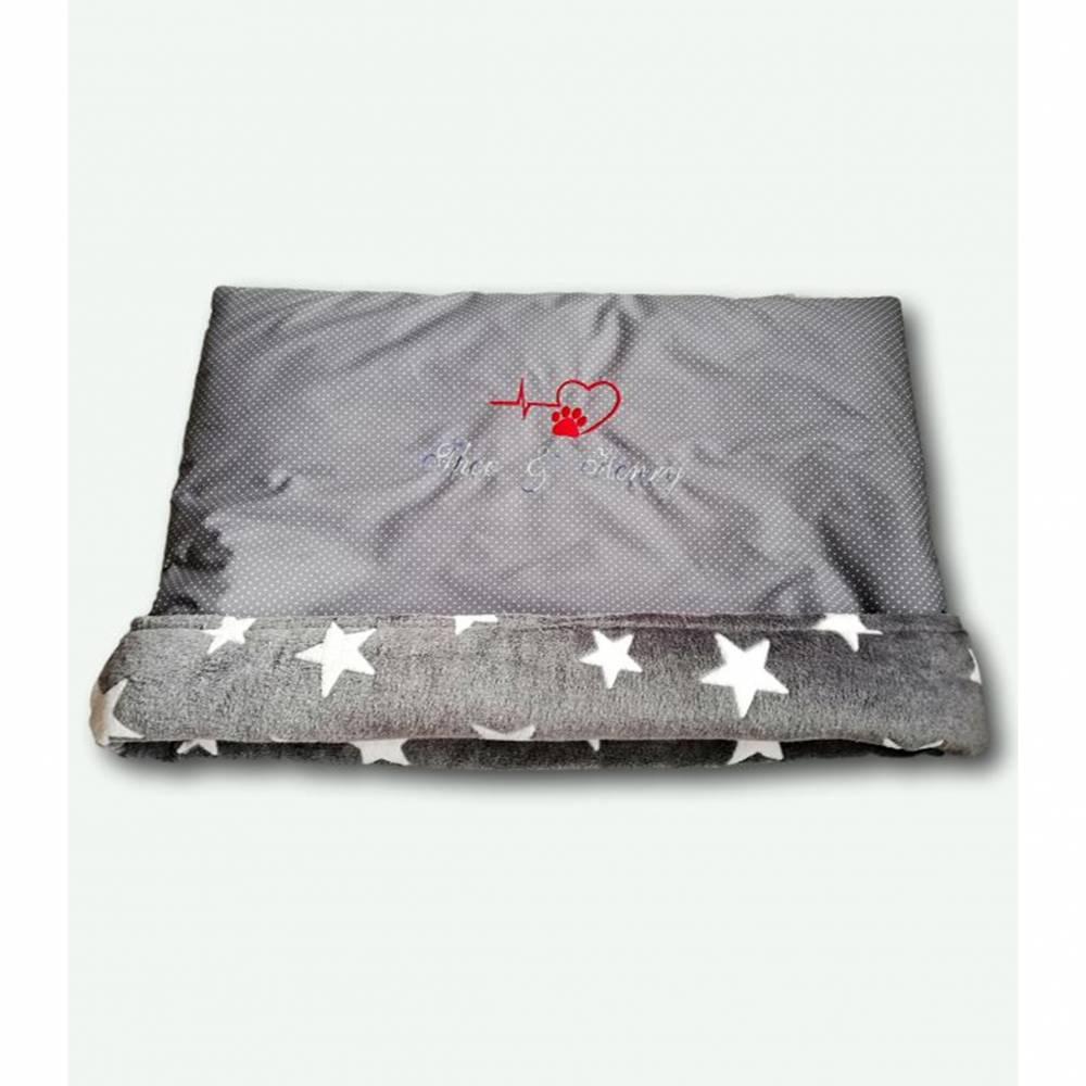 Kuschelsack, Schlafsack für Hunde grau mit Namen Gr. S-L Bild 1