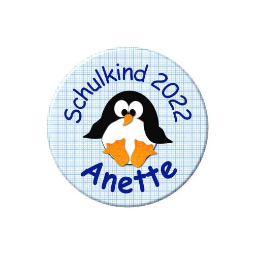 Button Schulkind, personalisiert, Schultüte, Pinguin, Wunschtext, Wunschnamen